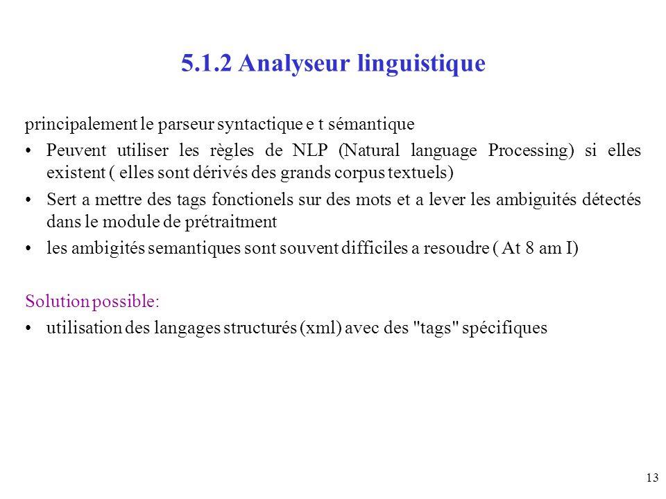 13 5.1.2 Analyseur linguistique principalement le parseur syntactique e t sémantique Peuvent utiliser les règles de NLP (Natural language Processing)