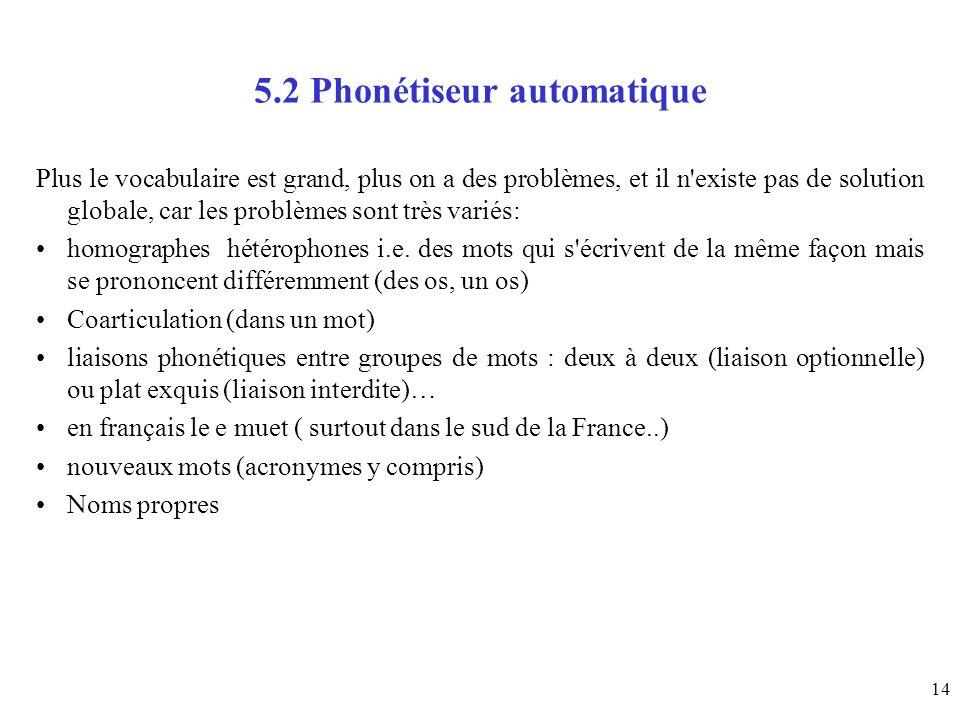 14 5.2 Phonétiseur automatique Plus le vocabulaire est grand, plus on a des problèmes, et il n'existe pas de solution globale, car les problèmes sont