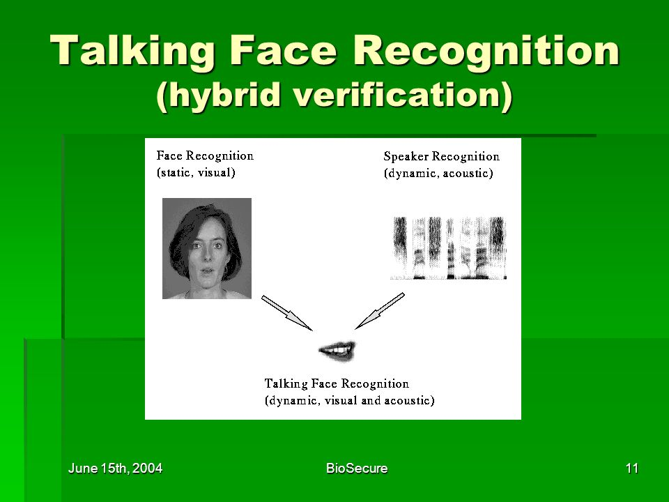 June 15th, 2004BioSecure11 Talking Face Recognition (hybrid verification)