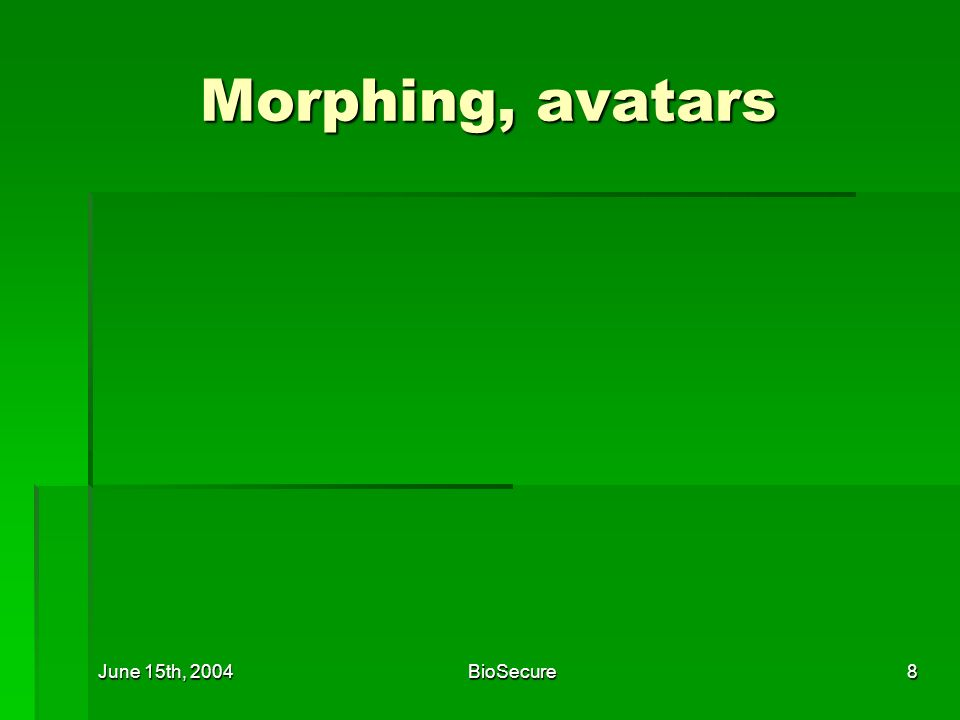 June 15th, 2004BioSecure8 Morphing, avatars