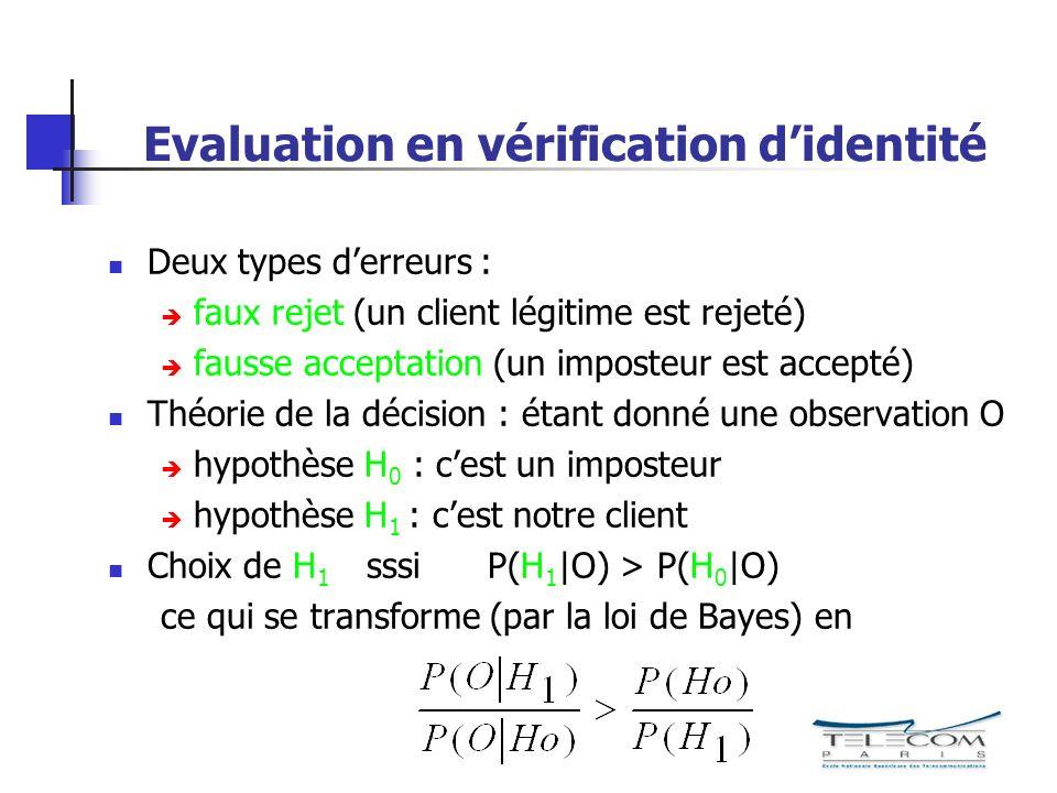 Deux types derreurs : faux rejet (un client légitime est rejeté) fausse acceptation (un imposteur est accepté) Théorie de la décision : étant donné une observation O hypothèse H 0 : cest un imposteur hypothèse H 1 : cest notre client Choix de H 1 sssi P(H 1  O) > P(H 0  O) ce qui se transforme (par la loi de Bayes) en Evaluation en vérification didentité
