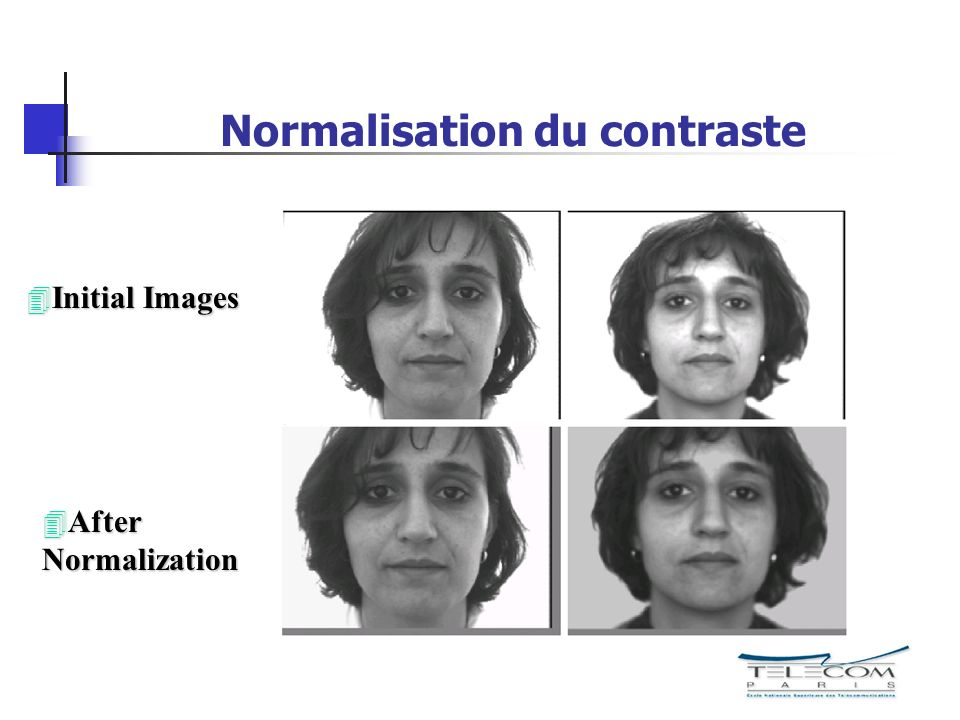 Normalisation du contraste 4 Initial Images 4 After Normalization