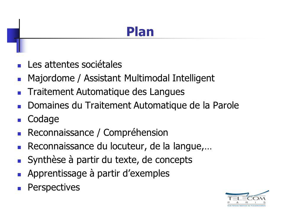 Plan Les attentes sociétales Majordome / Assistant Multimodal Intelligent Traitement Automatique des Langues Domaines du Traitement Automatique de la