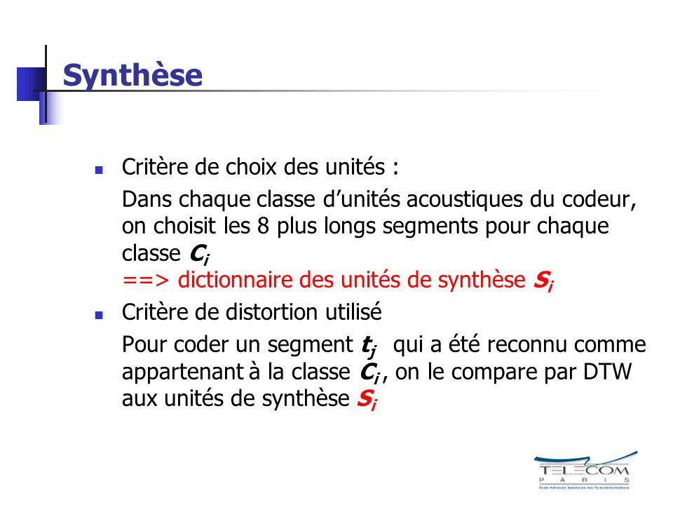 Synthèse Critère de choix des unités : Dans chaque classe dunités acoustiques du codeur, on choisit les 8 plus longs segments pour chaque classe C i =