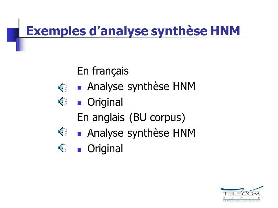 Exemples danalyse synthèse HNM En français Analyse synthèse HNM Original En anglais (BU corpus) Analyse synthèse HNM Original