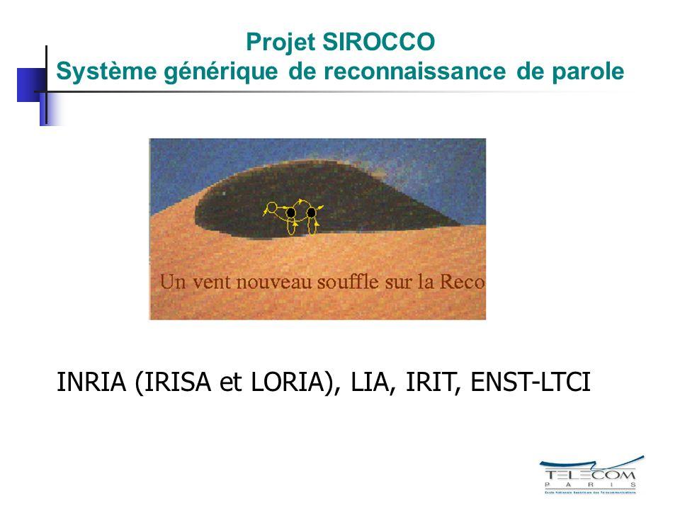 Projet SIROCCO Système générique de reconnaissance de parole INRIA (IRISA et LORIA), LIA, IRIT, ENST-LTCI