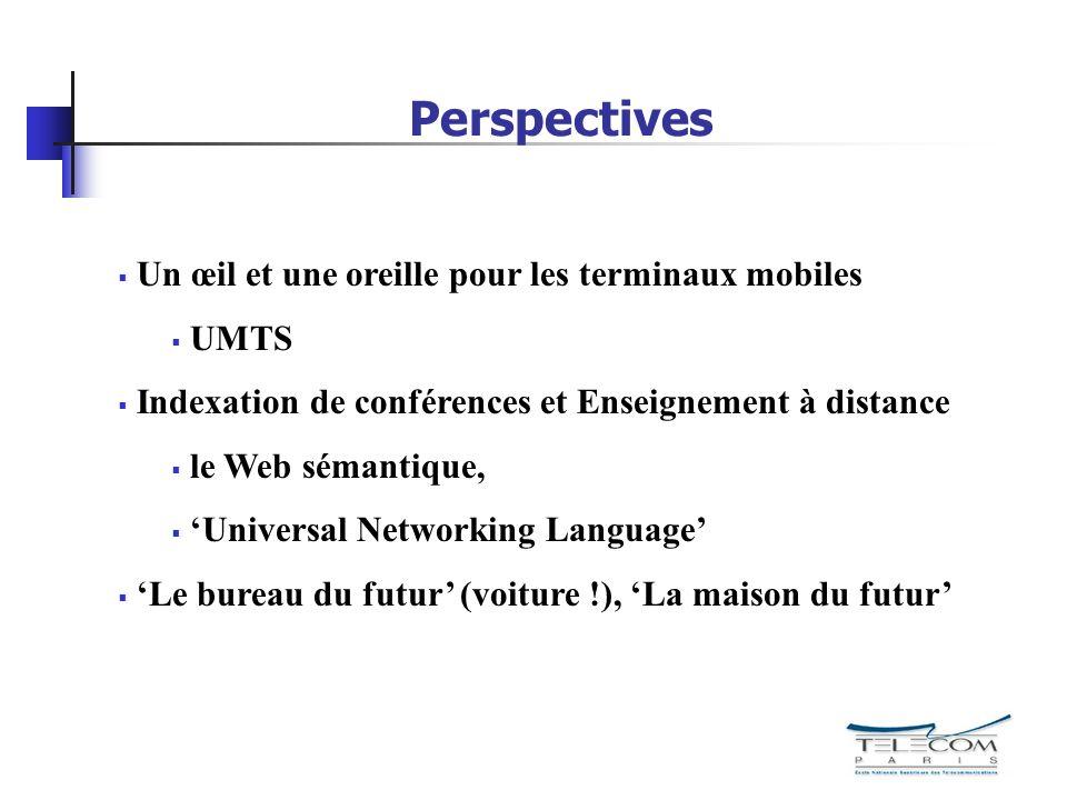 Perspectives Un œil et une oreille pour les terminaux mobiles UMTS Indexation de conférences et Enseignement à distance le Web sémantique, Universal N