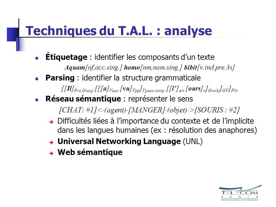 Techniques du T.A.L.