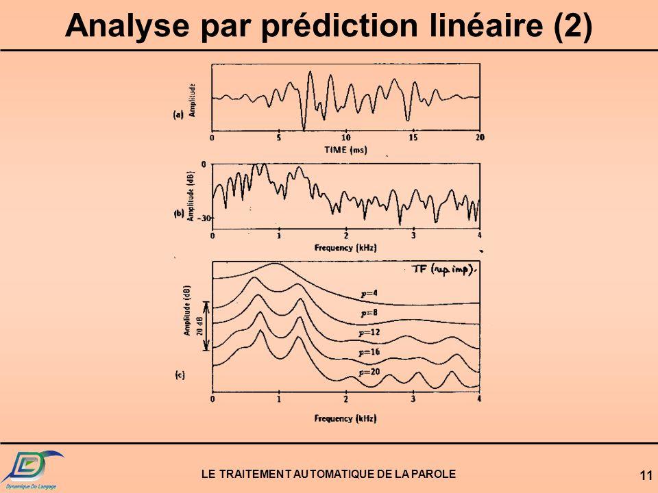 LE TRAITEMENT AUTOMATIQUE DE LA PAROLE 11 Analyse par prédiction linéaire (2)
