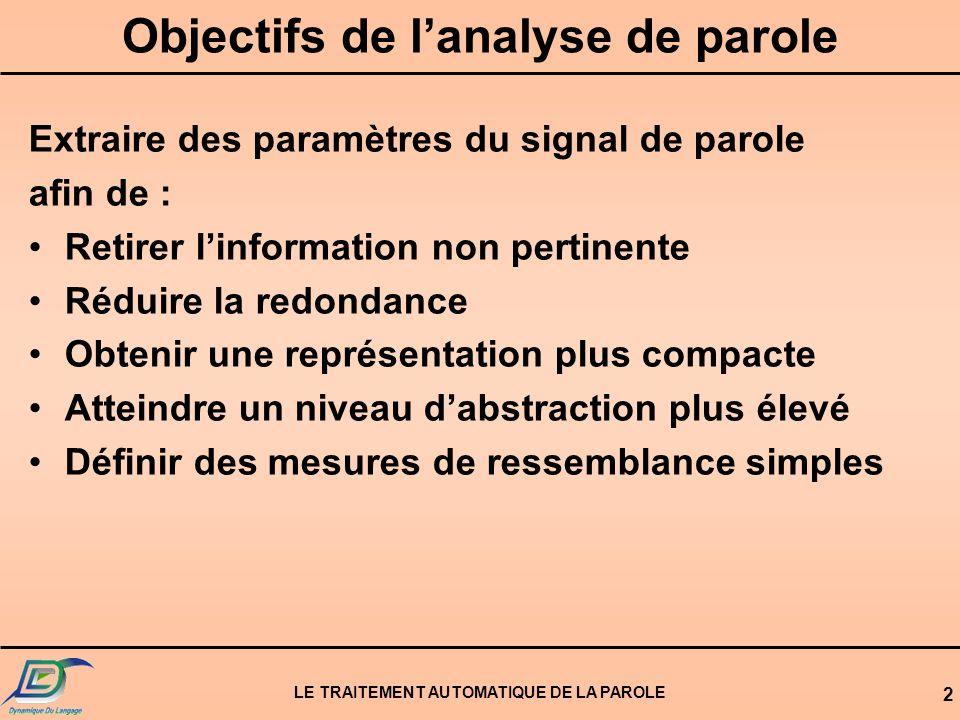 LE TRAITEMENT AUTOMATIQUE DE LA PAROLE 2 Objectifs de lanalyse de parole Extraire des paramètres du signal de parole afin de : Retirer linformation no