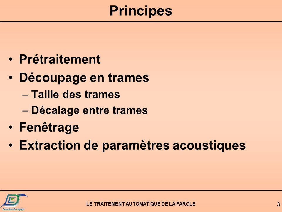 LE TRAITEMENT AUTOMATIQUE DE LA PAROLE 4 Principe dune analyse acoustique