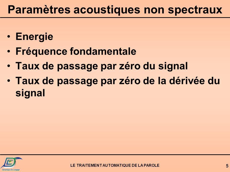 LE TRAITEMENT AUTOMATIQUE DE LA PAROLE 5 Paramètres acoustiques non spectraux Energie Fréquence fondamentale Taux de passage par zéro du signal Taux d