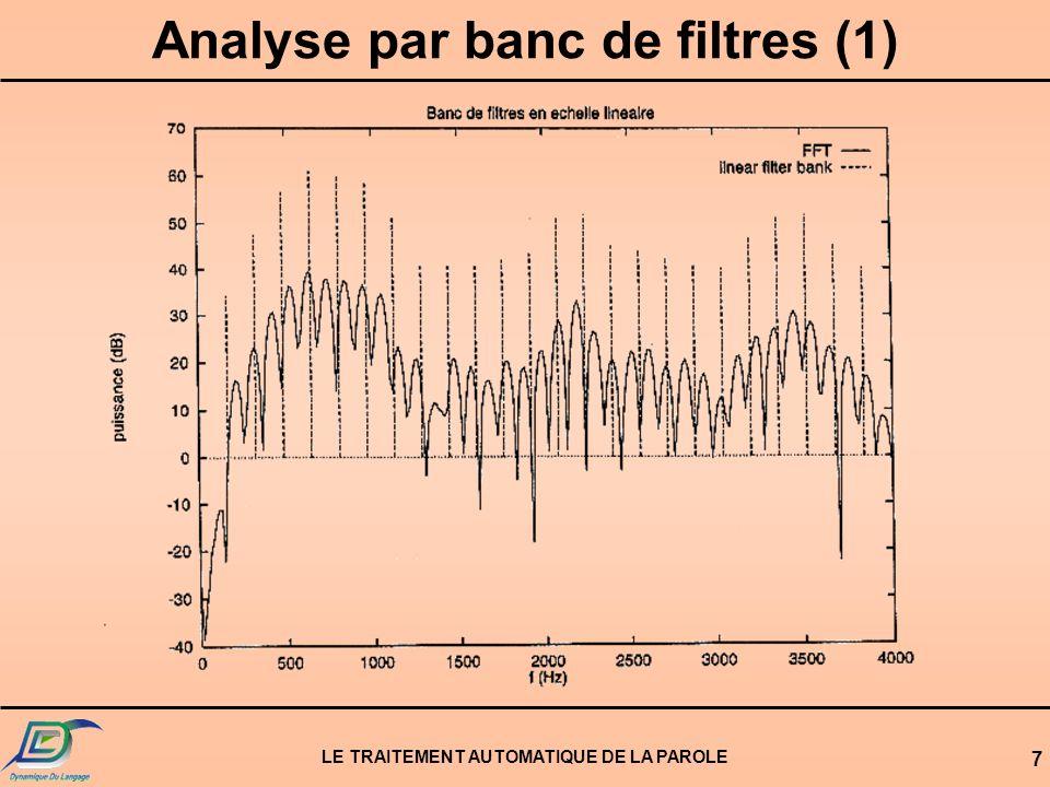 LE TRAITEMENT AUTOMATIQUE DE LA PAROLE 7 Analyse par banc de filtres (1)