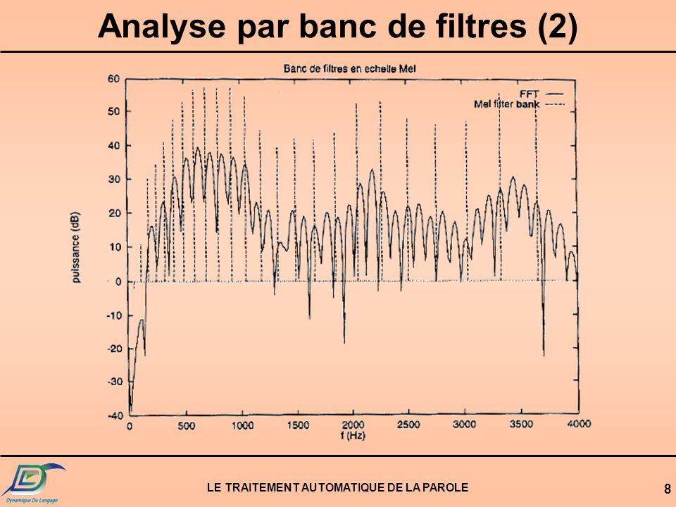 LE TRAITEMENT AUTOMATIQUE DE LA PAROLE 9 Analyse par banc de filtres (3)