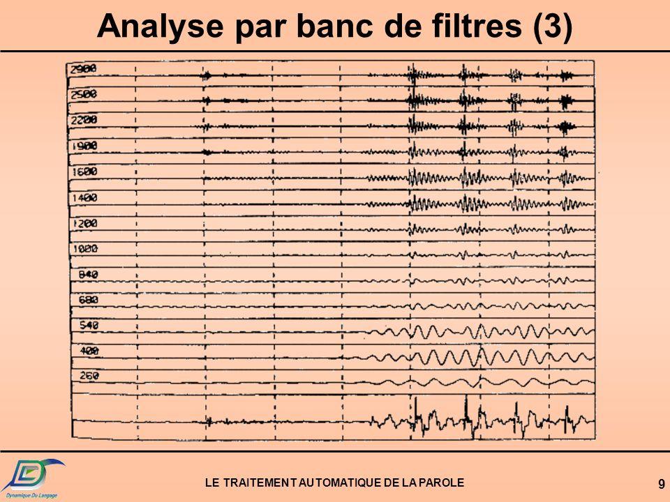 LE TRAITEMENT AUTOMATIQUE DE LA PAROLE 10 Analyse par prédiction linéaire (1) Modélisation de la parole sous forme dun filtre de prédiction linéaire Filtre de prédiction linéaire e(t)s(t)
