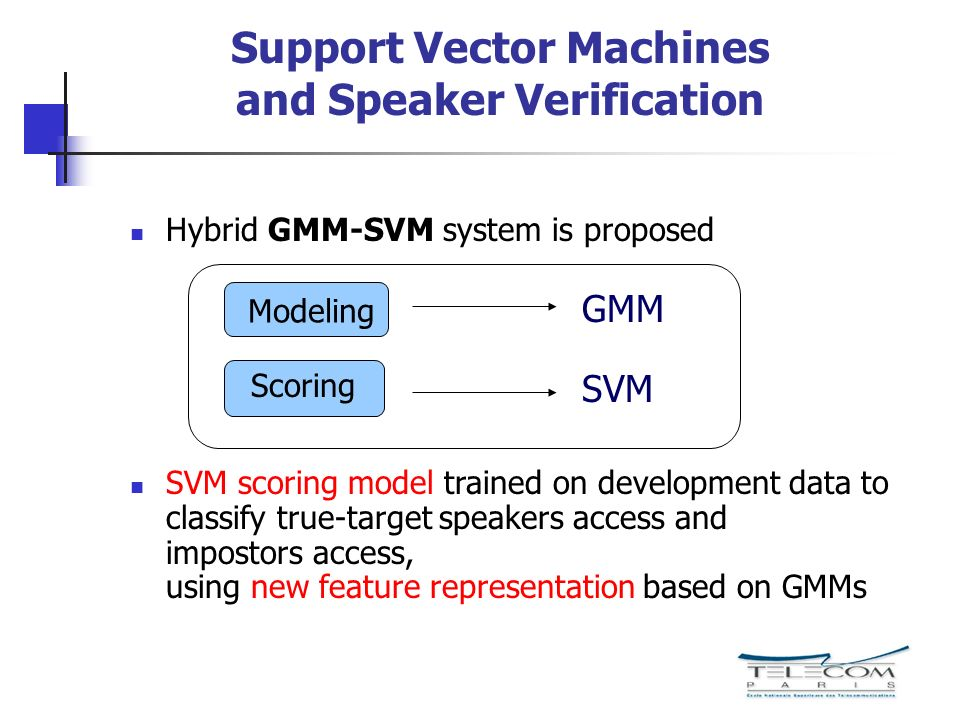 Support Vector Machines and Speaker Verification Hybrid GMM-SVM system is proposed SVM scoring model trained on development data to classify true-target speakers access and impostors access, using new feature representation based on GMMs Modeling Scoring GMM SVM