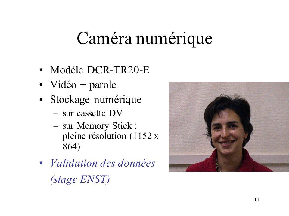 11 Modèle DCR-TR20-E Vidéo + parole Stockage numérique –sur cassette DV –sur Memory Stick : pleine résolution (1152 x 864) Validation des données (sta