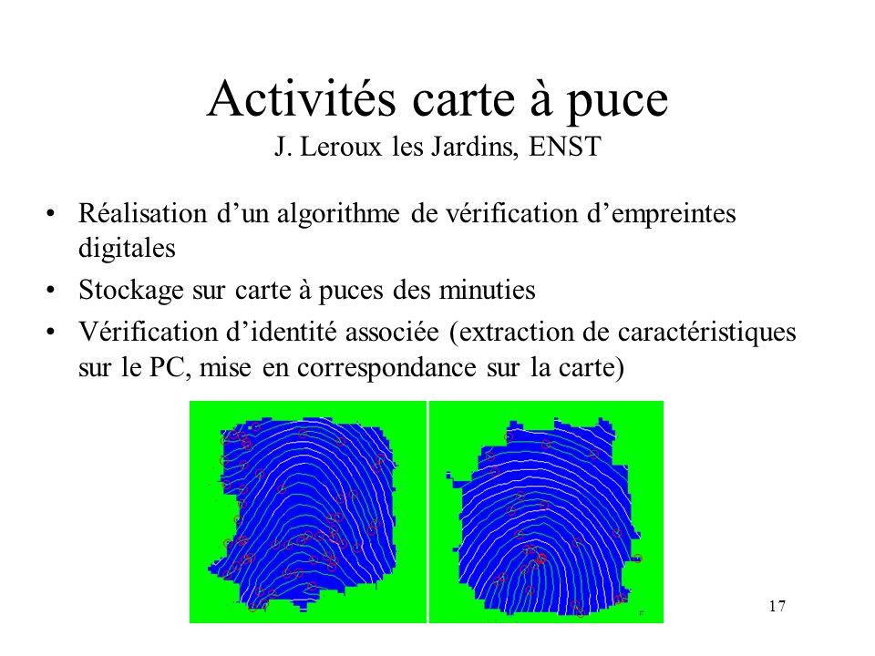 17 Activités carte à puce J. Leroux les Jardins, ENST Réalisation dun algorithme de vérification dempreintes digitales Stockage sur carte à puces des