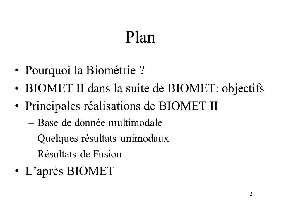 2 Plan Pourquoi la Biométrie ? BIOMET II dans la suite de BIOMET: objectifs Principales réalisations de BIOMET II –Base de donnée multimodale –Quelque
