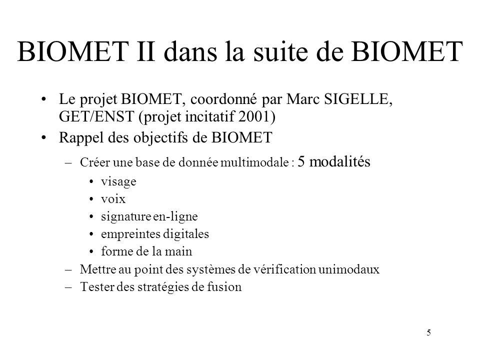 5 BIOMET II dans la suite de BIOMET Le projet BIOMET, coordonné par Marc SIGELLE, GET/ENST (projet incitatif 2001) Rappel des objectifs de BIOMET –Cré