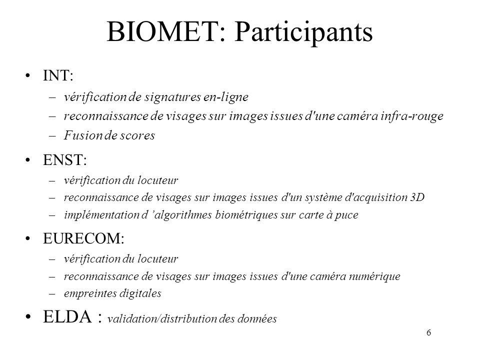 6 BIOMET: Participants INT: –vérification de signatures en-ligne –reconnaissance de visages sur images issues d'une caméra infra-rouge –Fusion de scor