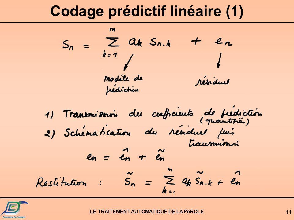 LE TRAITEMENT AUTOMATIQUE DE LA PAROLE 11 Codage prédictif linéaire (1)
