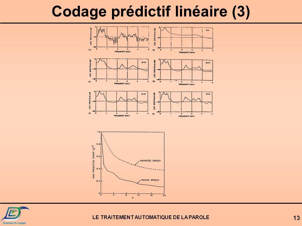 LE TRAITEMENT AUTOMATIQUE DE LA PAROLE 13 Codage prédictif linéaire (3)