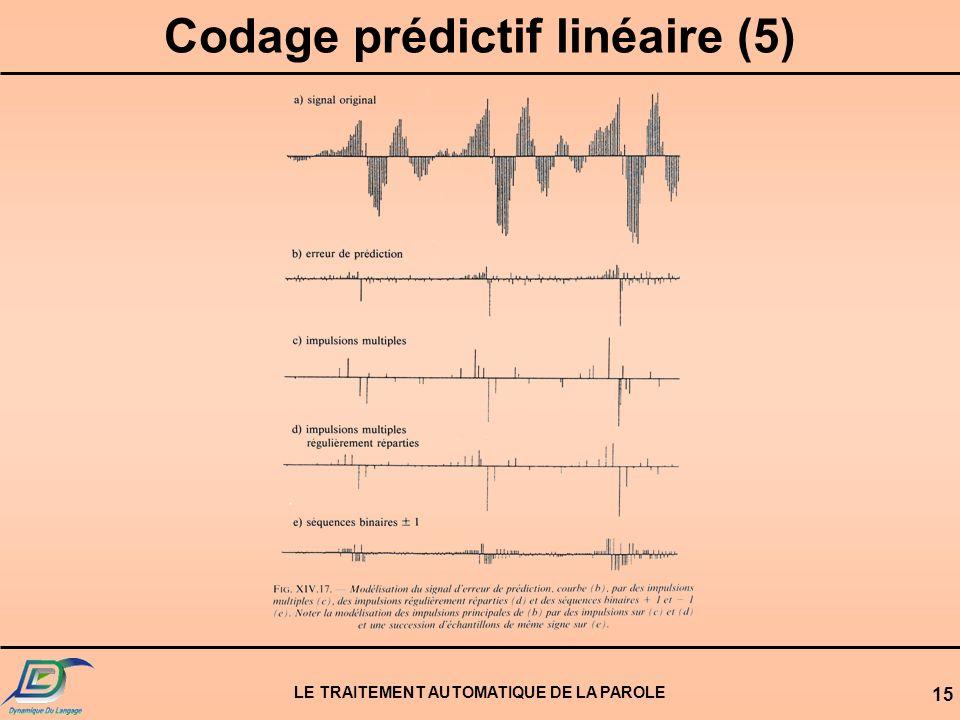 LE TRAITEMENT AUTOMATIQUE DE LA PAROLE 15 Codage prédictif linéaire (5)