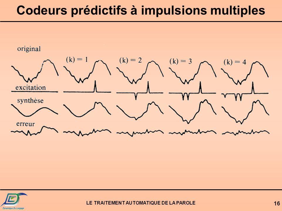 LE TRAITEMENT AUTOMATIQUE DE LA PAROLE 16 Codeurs prédictifs à impulsions multiples