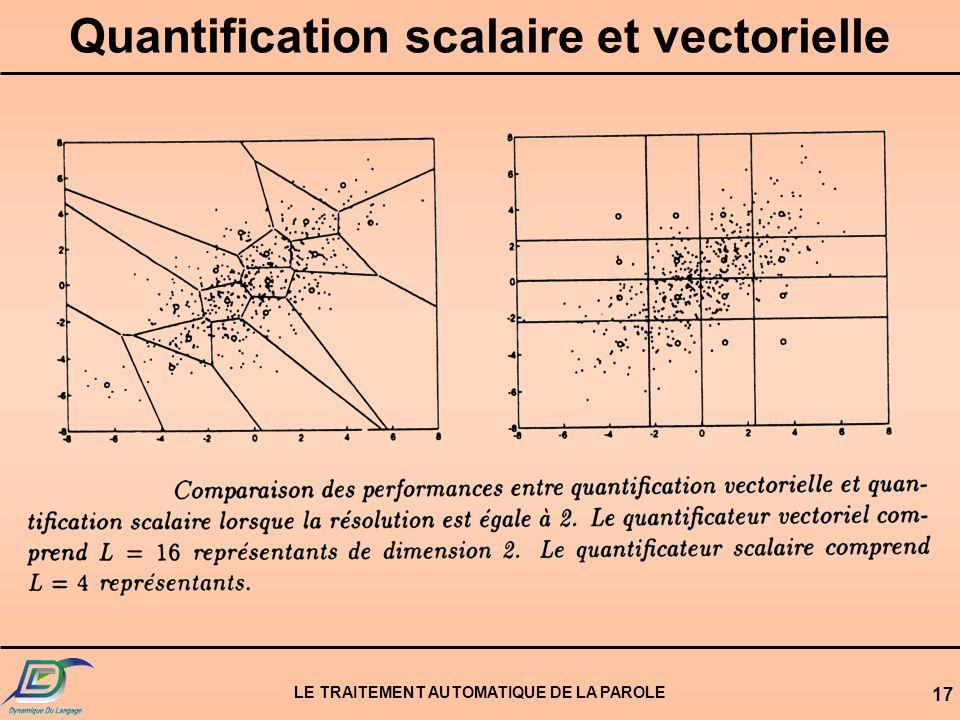 LE TRAITEMENT AUTOMATIQUE DE LA PAROLE 17 Quantification scalaire et vectorielle