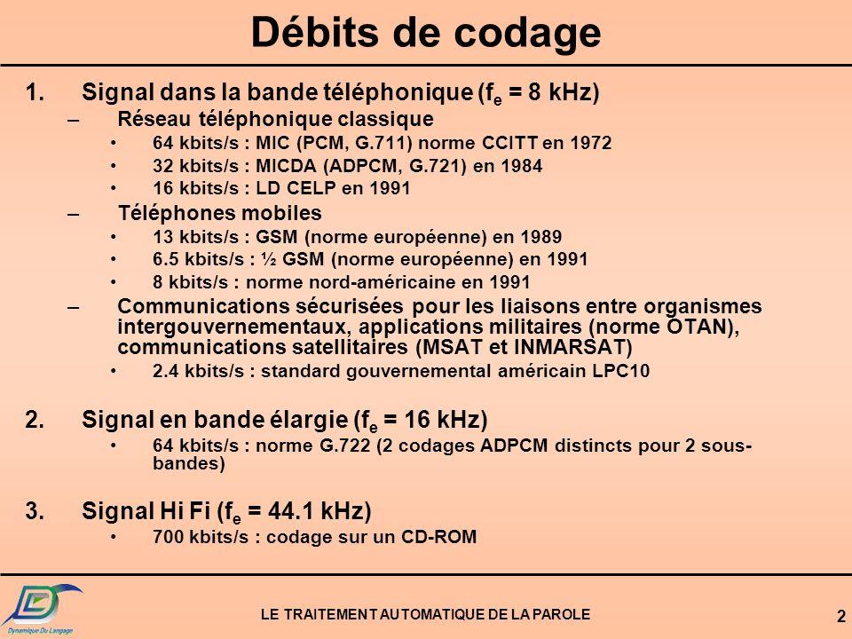 LE TRAITEMENT AUTOMATIQUE DE LA PAROLE 2 Débits de codage 1.Signal dans la bande téléphonique (f e = 8 kHz) –Réseau téléphonique classique 64 kbits/s