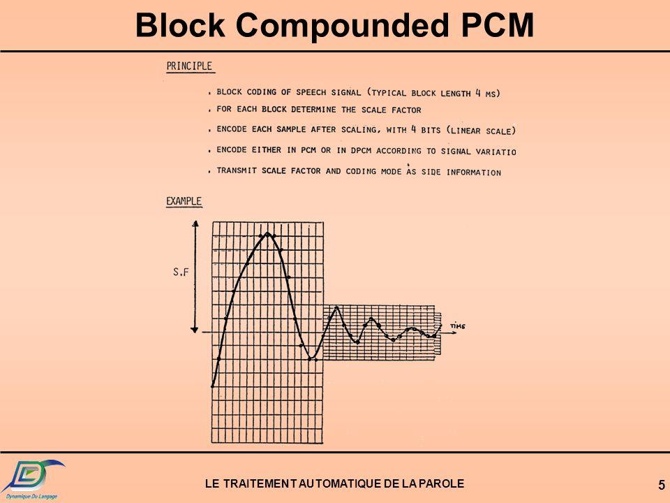 LE TRAITEMENT AUTOMATIQUE DE LA PAROLE 5 Block Compounded PCM