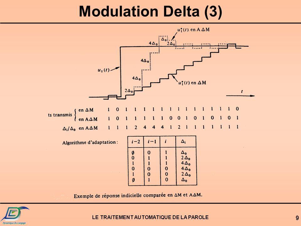 LE TRAITEMENT AUTOMATIQUE DE LA PAROLE 9 Modulation Delta (3)