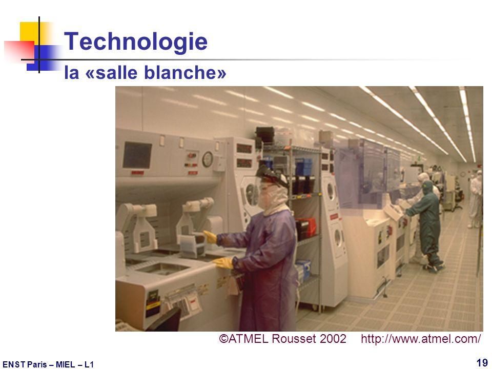 ENST Paris – MIEL – L1 19 Technologie la «salle blanche» ©ATMEL Rousset 2002 http://www.atmel.com/