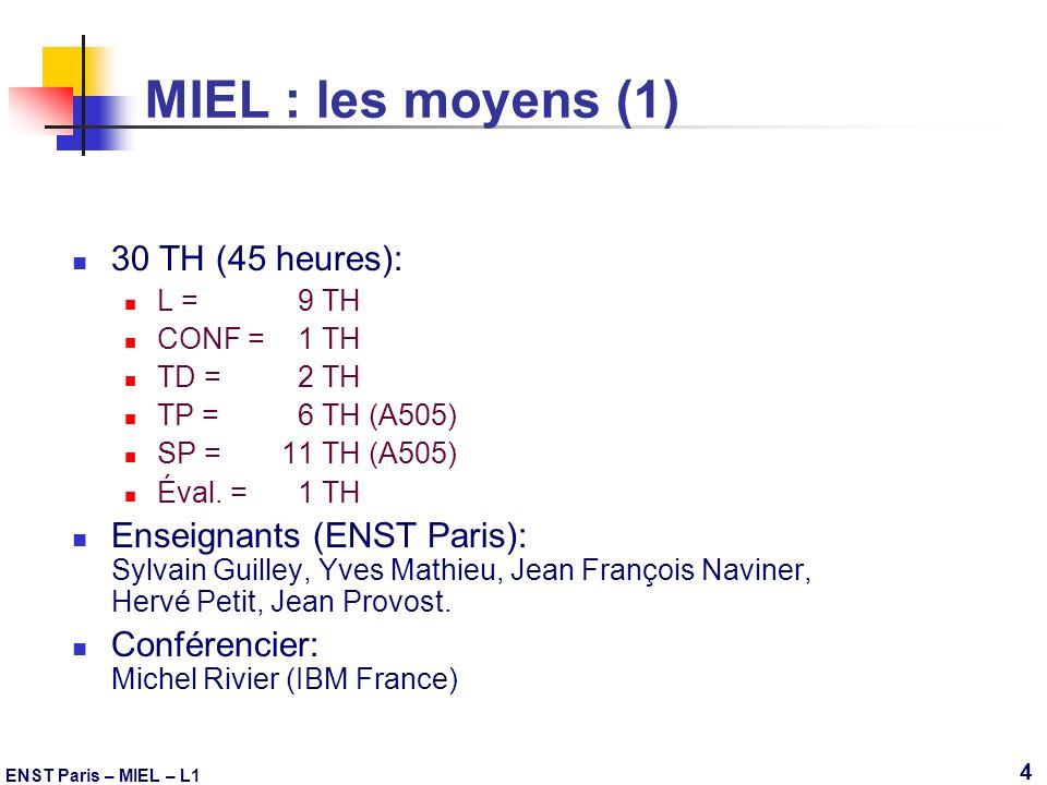 ENST Paris – MIEL – L1 4 MIEL : les moyens (1) 30 TH (45 heures): L = 9 TH CONF = 1 TH TD = 2 TH TP = 6 TH (A505) SP = 11 TH (A505) Éval. = 1 TH Ensei