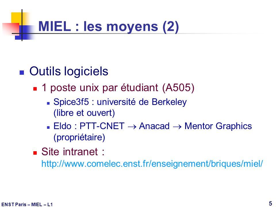 ENST Paris – MIEL – L1 5 MIEL : les moyens (2) Outils logiciels 1 poste unix par étudiant (A505) Spice3f5 : université de Berkeley (libre et ouvert) E