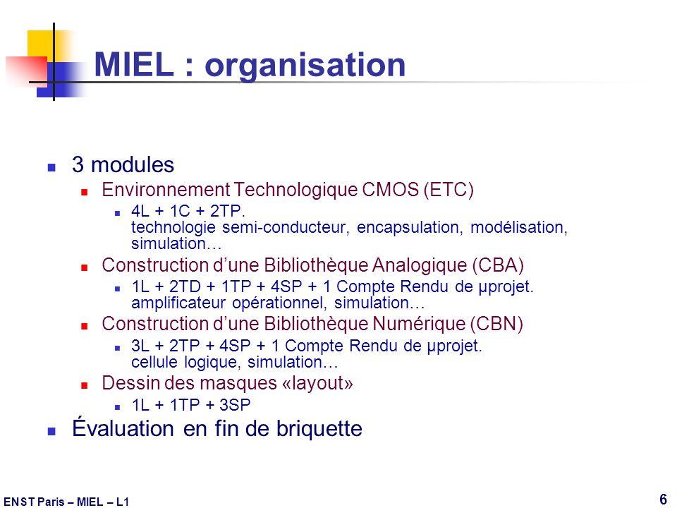 ENST Paris – MIEL – L1 6 MIEL : organisation 3 modules Environnement Technologique CMOS (ETC) 4L + 1C + 2TP. technologie semi-conducteur, encapsulatio