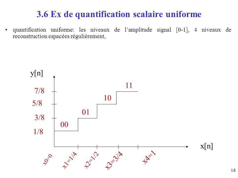 18 3.6 Ex de quantification scalaire uniforme quantification uniforme: les niveaux de lamplitude signal [0-1], 4 niveaux de reconstruction espacées ré