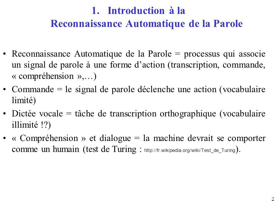 2 1.Introduction à la Reconnaissance Automatique de la Parole Reconnaissance Automatique de la Parole = processus qui associe un signal de parole à un
