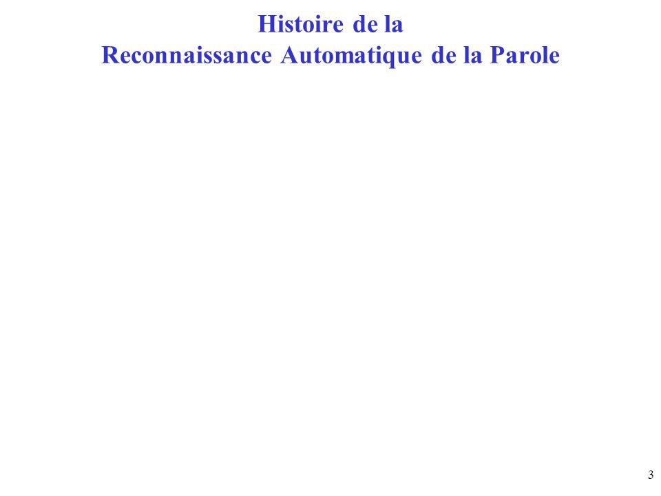 3 Histoire de la Reconnaissance Automatique de la Parole