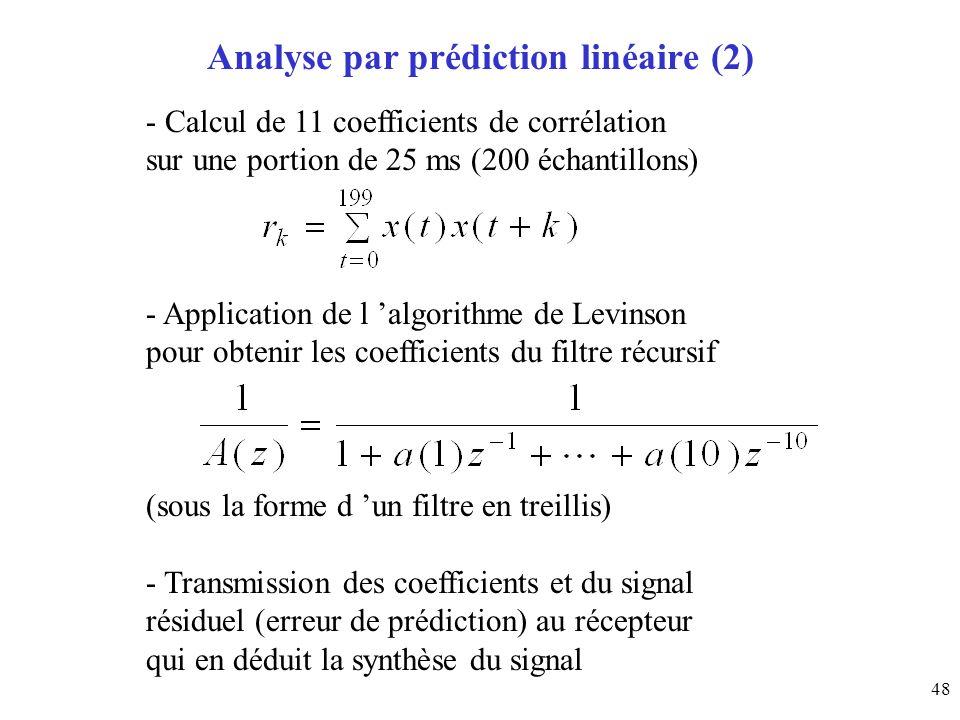 48 Analyse par prédiction linéaire (2) - Calcul de 11 coefficients de corrélation sur une portion de 25 ms (200 échantillons) - Application de l algor