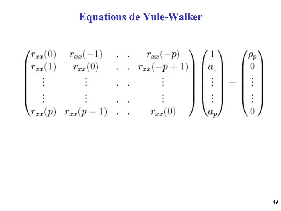 49 Equations de Yule-Walker