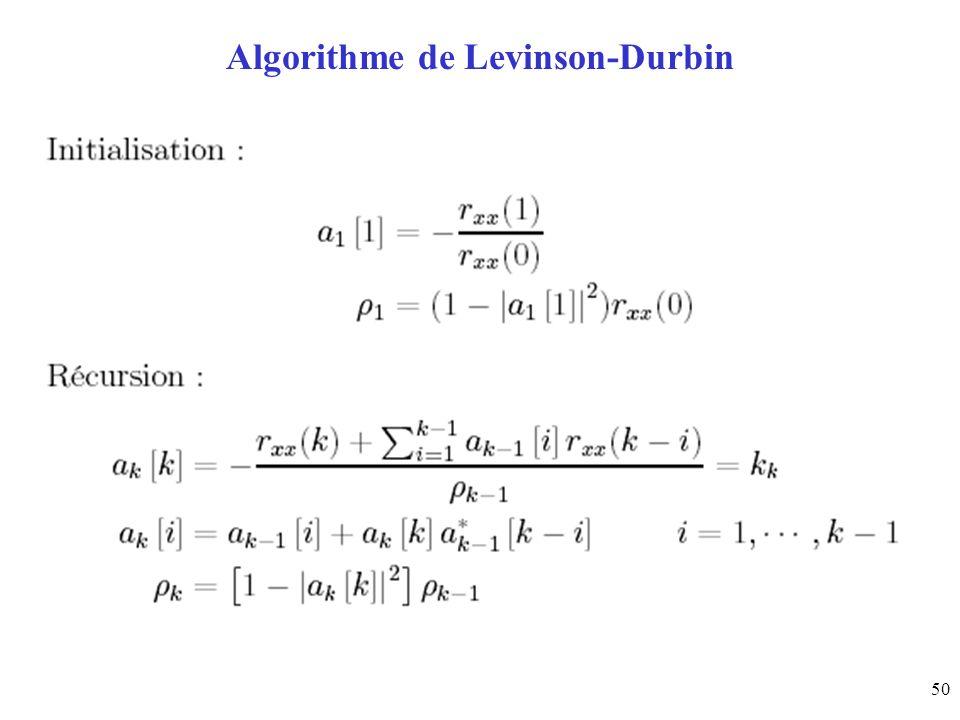 50 Algorithme de Levinson-Durbin