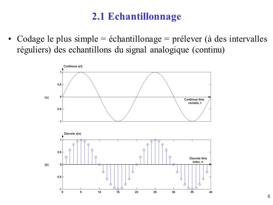 17 3.5 Quantification scalaire uniforme niveau de décision x i - x i-1 =, 1 i M et de reconstruction espacées de manière uniforme y[n] = y i = Q (x[n] ) avec x i-1 < x[n] x i devient: y[n] = (x i + x i-1 )/2 1 i M