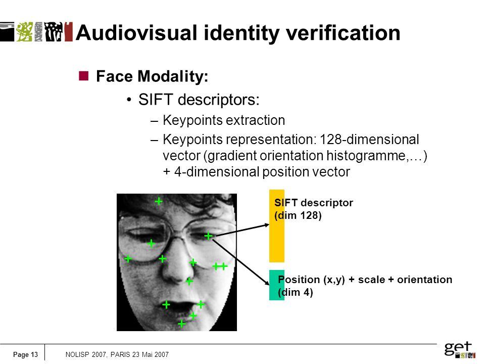 Page 13NOLISP 2007, PARIS 23 Mai 2007 Audiovisual identity verification nFace Modality: SIFT descriptors: –Keypoints extraction –Keypoints representation: 128-dimensional vector (gradient orientation histogramme,…) + 4-dimensional position vector SIFT descriptor (dim 128) Position (x,y) + scale + orientation (dim 4)