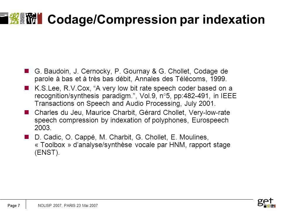 Page 7NOLISP 2007, PARIS 23 Mai 2007 nG. Baudoin, J.