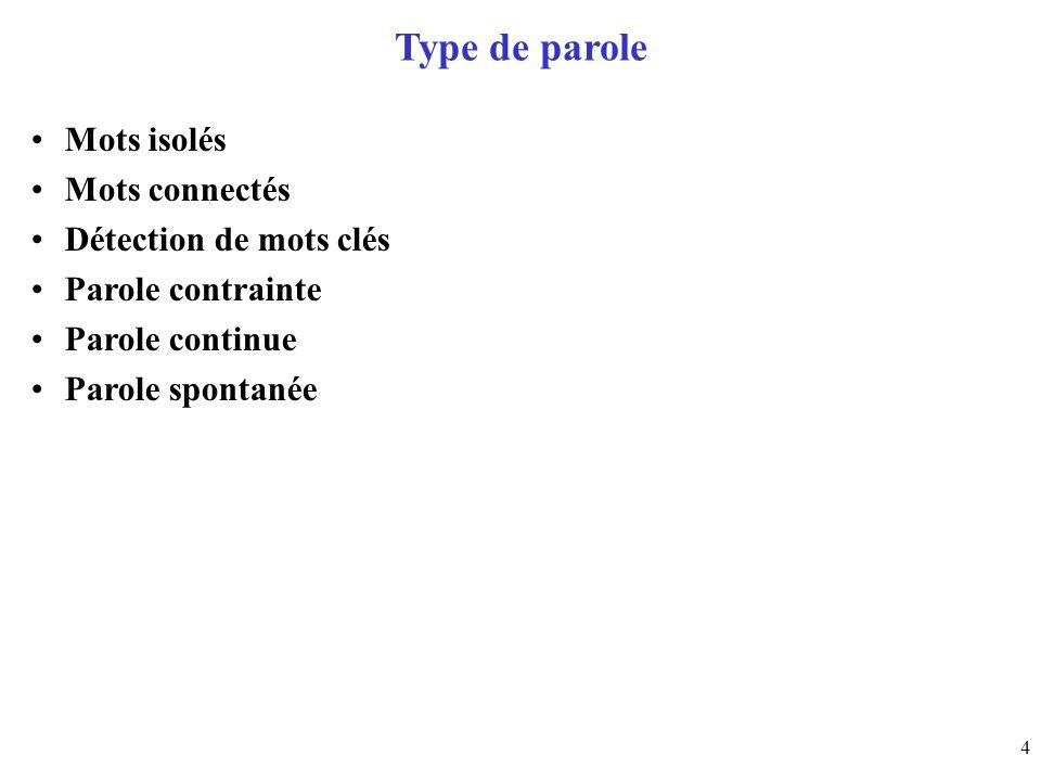 5 Taille du vocabulaire Quelques mots (5 – 50) Petit vocabulaire (50 – 500) Vocabulaire moyen (500 – 5000) Grand vocabulaire (5000 – 50000) Très grand vocabulaire (> 50000)
