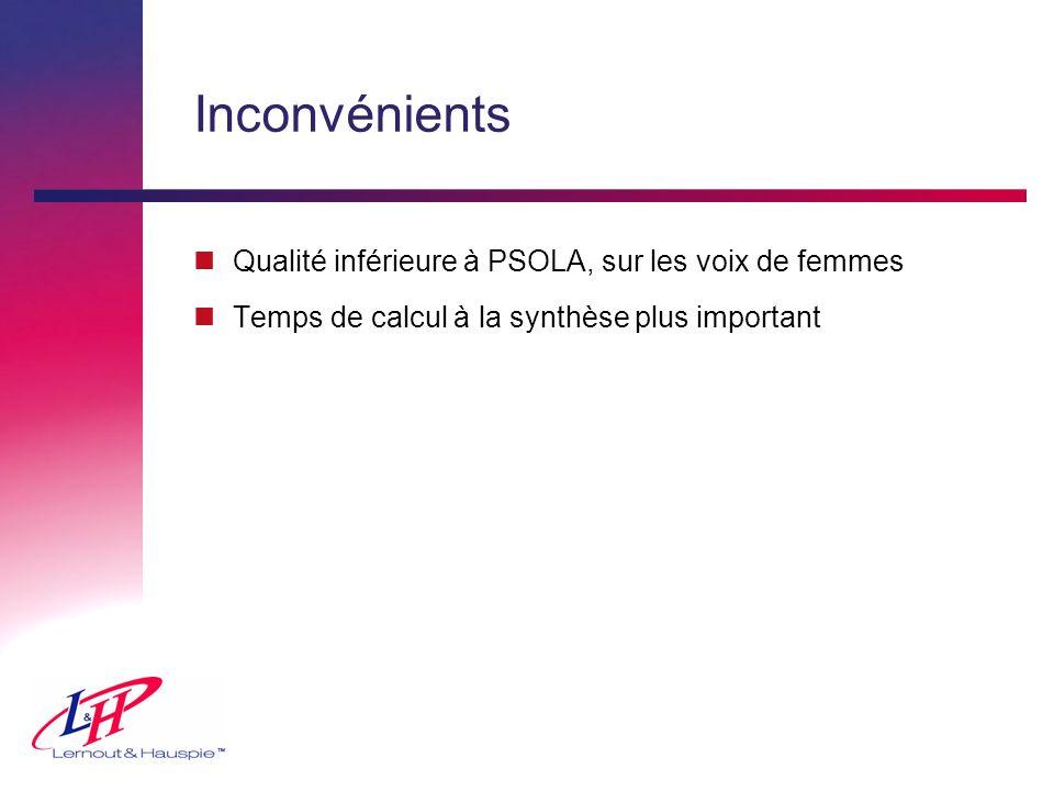 Inconvénients nQualité inférieure à PSOLA, sur les voix de femmes nTemps de calcul à la synthèse plus important