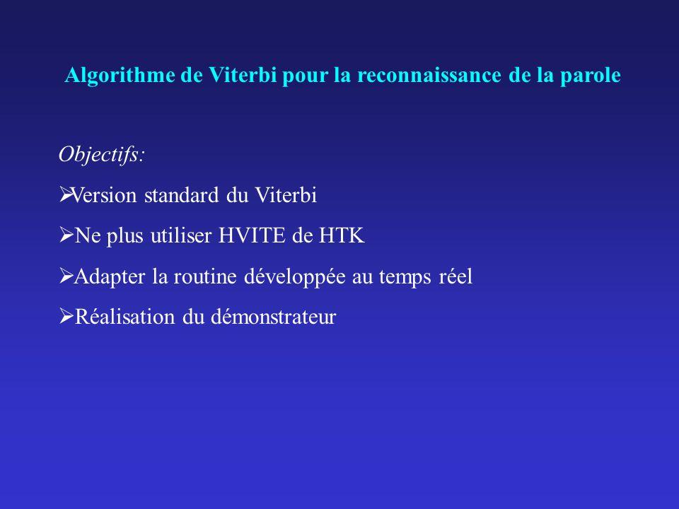 Algorithme de Viterbi pour la reconnaissance de la parole Objectifs: Version standard du Viterbi Ne plus utiliser HVITE de HTK Adapter la routine déve