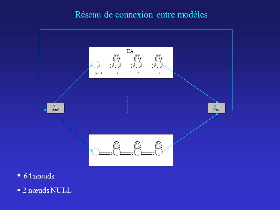 Réseau de connexion entre modèles HA 0 fictif 1 2 3 Null initial Null final 64 nœuds 2 nœuds NULL
